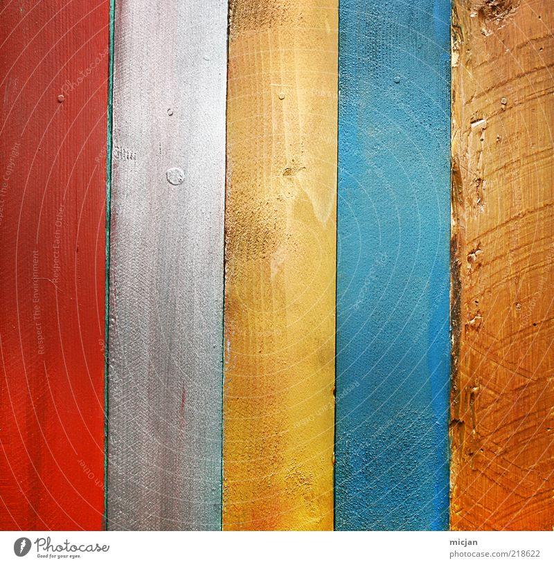 Wooden |Vertical Rainbow Holz Farbe Holzbrett Bretterzaun Material Zaun Wand vertikal 5 rot weiß gelb blau braun grau regenbogenfarben Linie parallel gerade