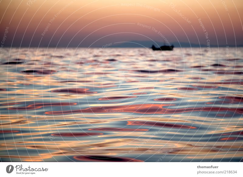 rotes Meer Ferien & Urlaub & Reisen Ausflug Ferne Freiheit Sommer Insel Wellen Fischerboot Wolkenloser Himmel Horizont Bootsfahrt glänzend genießen mehrfarbig