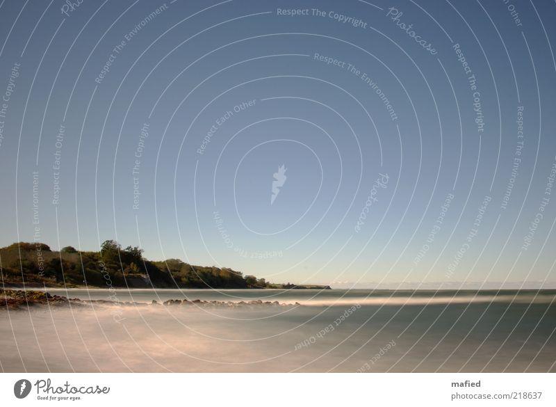 Fünfzehn Sekunden Meer Strand Wellen Umwelt Natur Landschaft Luft Wasser Himmel Wolkenloser Himmel Schönes Wetter Küste Ostsee blau grau weiß Farbfoto