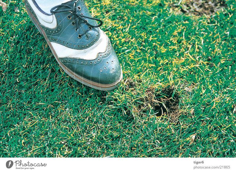 Schuh im Gras Sport Schuhe Golf