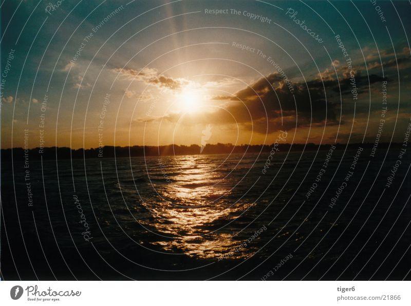 Adios Sonne Wasser Meer Strand Wolken Abenddämmerung