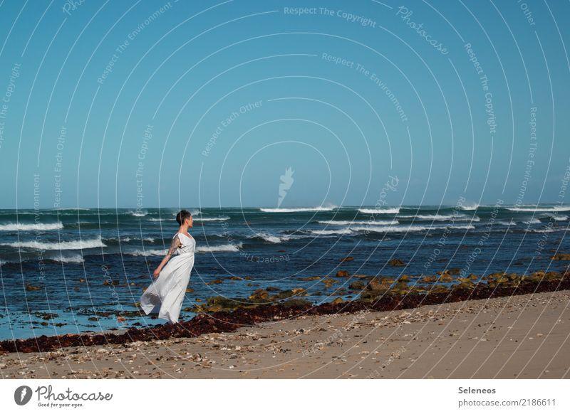 Meeresrauschen Mensch Himmel Ferien & Urlaub & Reisen Sommer Sonne Ferne Strand Küste feminin Tourismus Freiheit Ausflug Horizont frei Wellen