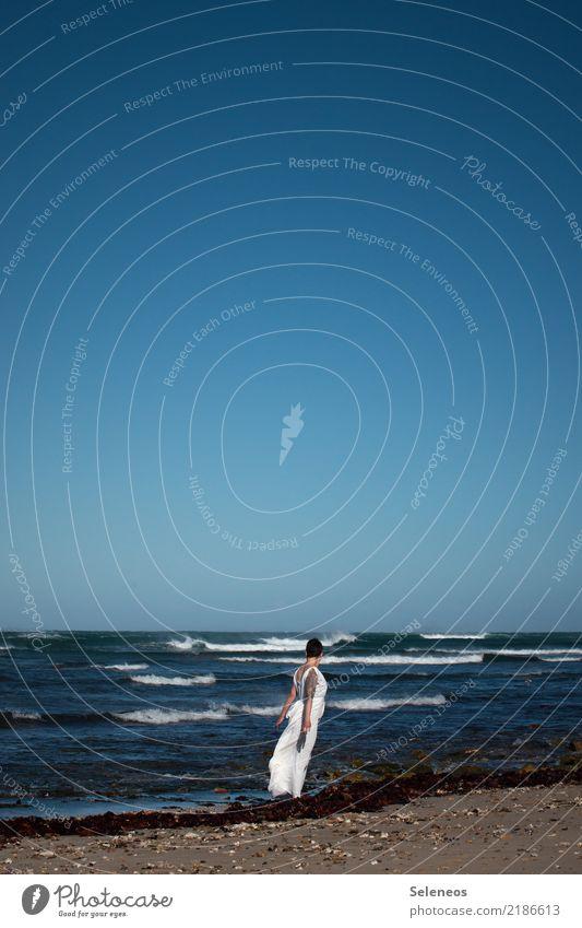 seaview Mensch Himmel Natur Ferien & Urlaub & Reisen Sommer Wasser Landschaft Meer Erholung Ferne Strand Umwelt Küste feminin Freiheit Ausflug
