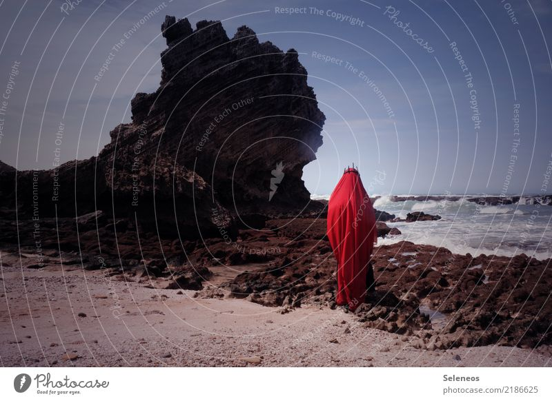 Küstengeist Mensch 1 Umwelt Natur Urelemente Wasser Himmel Horizont Felsen Wellen Meer Stoff Krone Baumkrone gruselig rot König Geister u. Gespenster verpackt