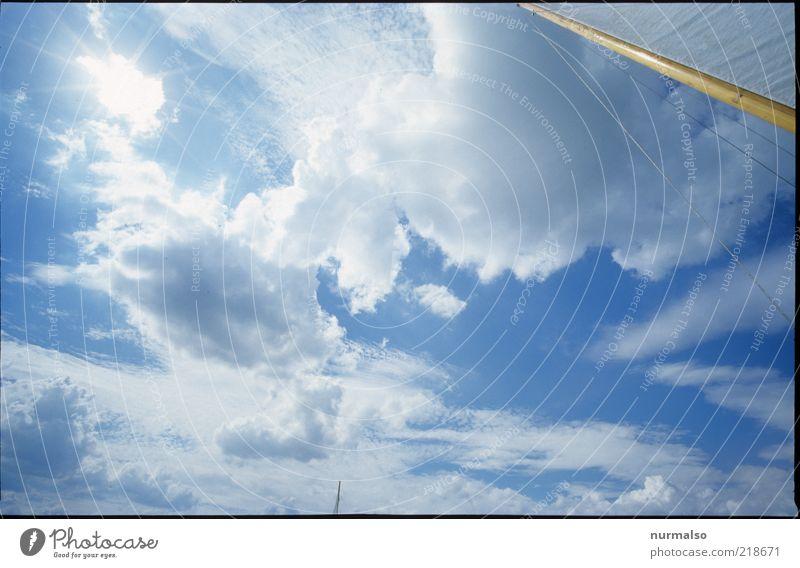 auf ins Blaue Himmel Natur schön Sonne Sommer Freude Wolken Ferne Umwelt Freiheit Wärme Stimmung Freizeit & Hobby Seil Klima Lifestyle