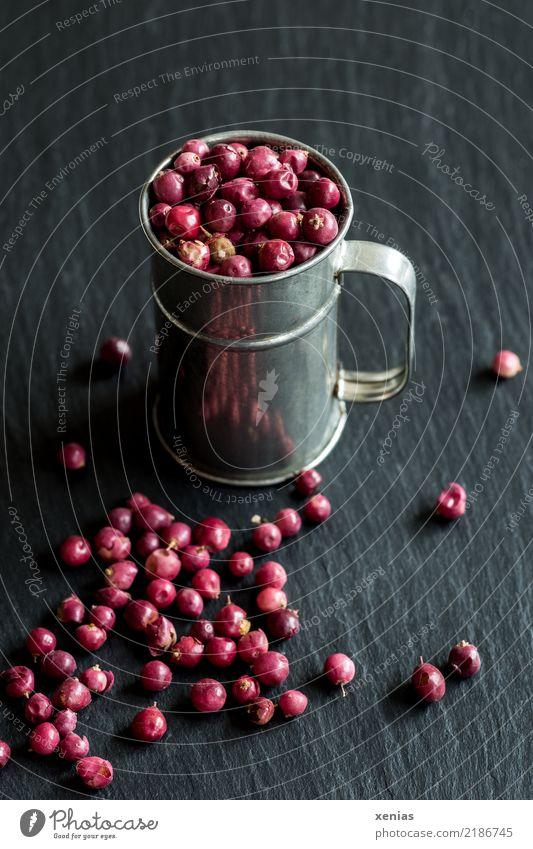Rosa Beeren rot schwarz rosa Ernährung Kräuter & Gewürze silber Pfeffer Würzig Becher Schiefer Pfefferkörner mild