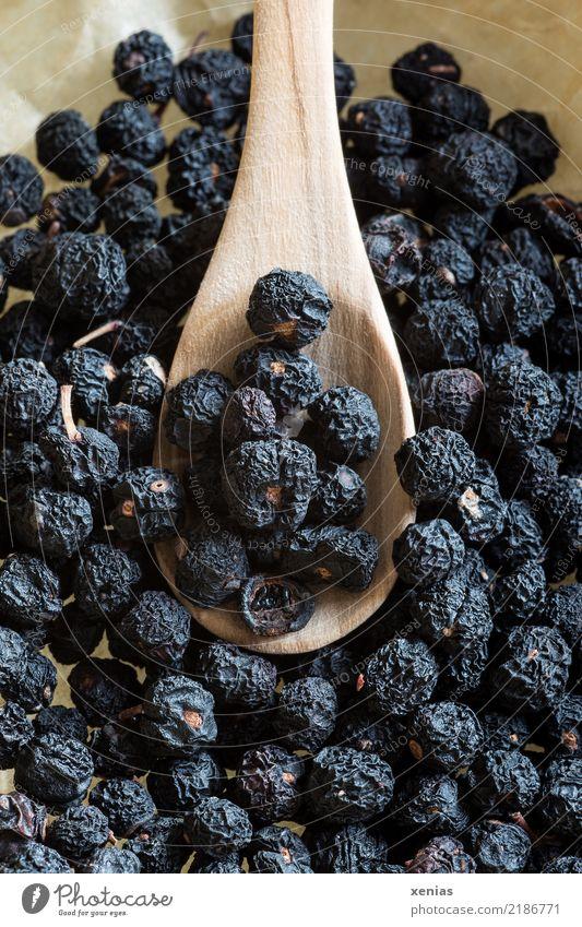 Tasmanischer Bergpfeffer schwarz Lebensmittel braun Ernährung kochen & garen Kräuter & Gewürze Scharfer Geschmack lecker Bioprodukte getrocknet Pfeffer Löffel