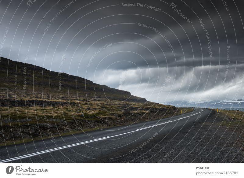Regen nach der Kurve Natur Landschaft Wasser Himmel Gewitterwolken Horizont Frühling schlechtes Wetter Sturm Gras Moos Berge u. Gebirge Fjord Straße dunkel