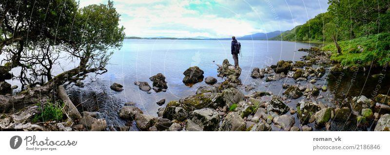 Hier ist der Weg zu ende. Landschaft Pflanze Urelemente Seeufer Unendlichkeit Gelassenheit ruhig Idylle Zufriedenheit Nordirland wandern grün nachdenklich Ferne