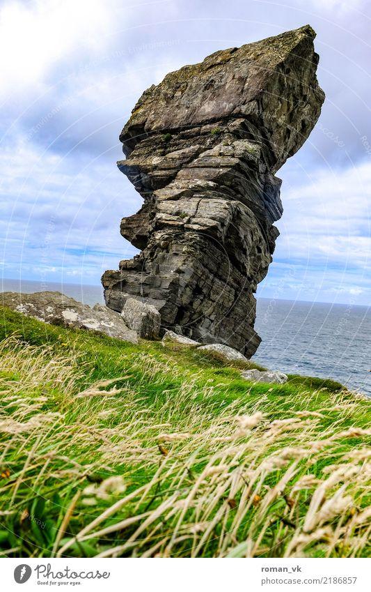 Überbleibsel Natur Landschaft Pflanze Urelemente Erde Himmel Gras Sträucher Wiese Felsen Küste Meer alt lang stark Nordirland Cliffs of Moher Monolith wild Riss