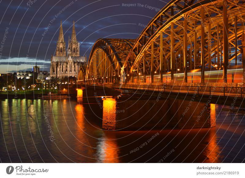 Kölner Dom mit Rhein und Deutzer Brücke zur Abendzeit elegant Ferien & Urlaub & Reisen Tourismus Städtereise Kreuzfahrt Nachtleben Architektur Landschaft