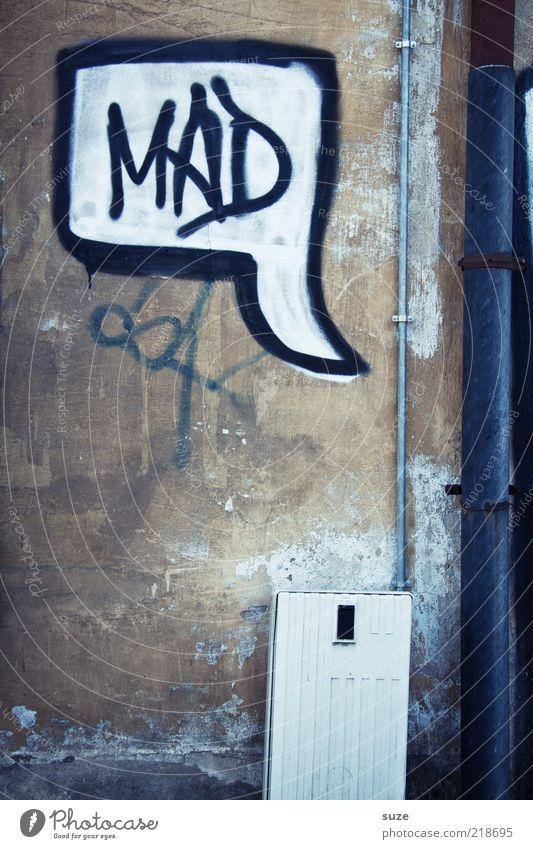 Und du? alt Graffiti Wand Mauer lustig grau Stil braun Fassade verrückt Vergänglichkeit Verfall Typographie böse Putz Comic