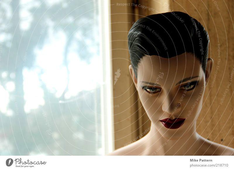 Nachtwandler Mensch Jugendliche schön blau Gesicht ruhig außergewöhnlich Kunststoff falsch Porträt schwarzhaarig Schaufensterpuppe künstlich kurzhaarig Roboter Frauengesicht