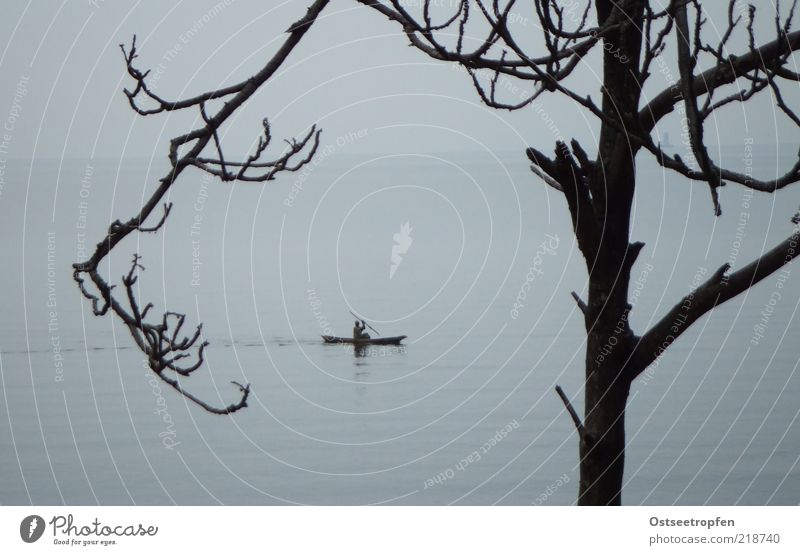 KigufI Mensch blau Wasser Baum Ferien & Urlaub & Reisen Einsamkeit schwarz ruhig Ferne Freiheit grau Bewegung Stimmung Horizont Regen einzeln