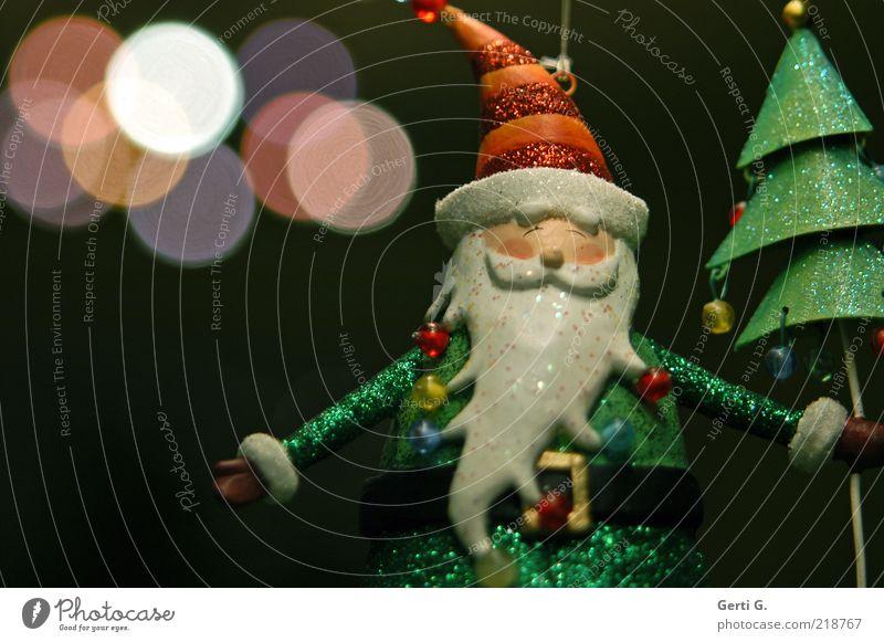hohooo Bart Kunst weißhaarig dunkel grün schwarz Idylle Nostalgie Weihnachtsmann Nikolausmütze Figur Weihnachtsfigur Perle Lichtpunkt glänzend Farbfoto