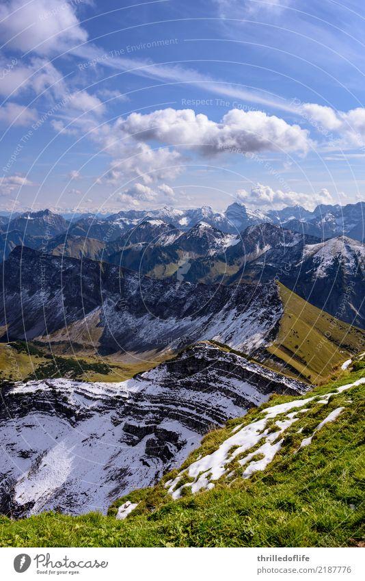 Sonniger Herbstbeginn im Karwendel Schnee Berge u. Gebirge wandern Umwelt Natur Landschaft Sonne Hügel Felsen Alpen Gipfel Schneebedeckte Gipfel