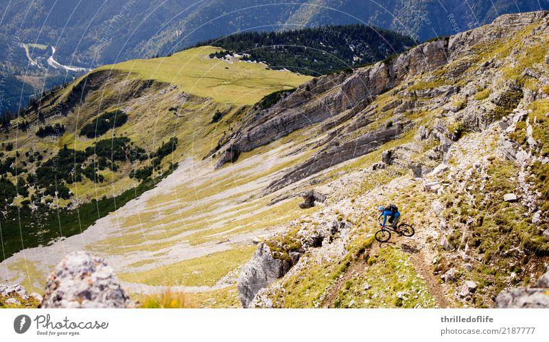 Sonniger Herbstbeginn im Karwendel sportlich Fitness Freizeit & Hobby Sport Fahrradfahren Mountainbike Umwelt Natur Landschaft Hügel Felsen Alpen