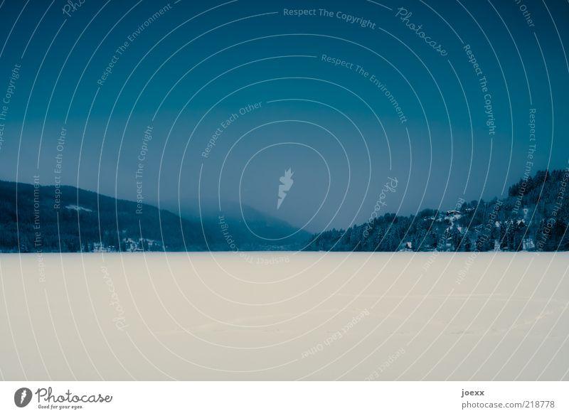 Einbruch Natur Landschaft Winter Nebel Eis Frost Schnee Hügel See blau ruhig kalt Titisee Farbfoto Gedeckte Farben Außenaufnahme Textfreiraum unten Tag