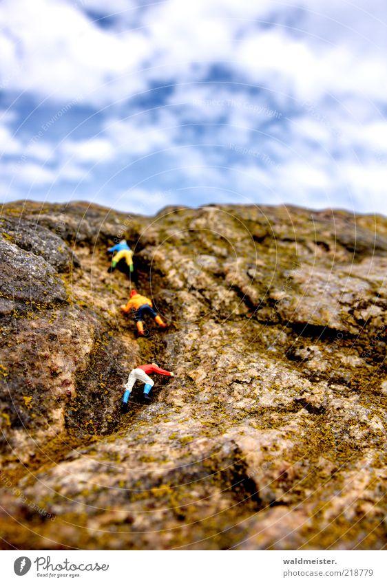 Rock climbers Fitness Sport-Training Klettern Bergsteigen maskulin Schönes Wetter Felsen außergewöhnlich Freiheit Berge u. Gebirge Bergsteiger Modellfigur