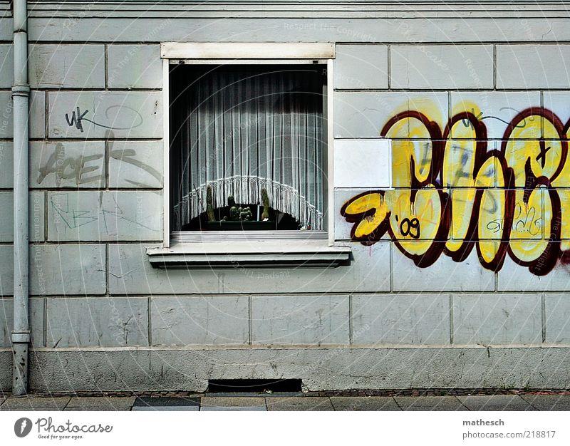Großstadtidylle Stadt Haus gelb Fenster Graffiti Wand grau Mauer Stein Gebäude Kunst Glas Fassade trist Bürgersteig Röhren
