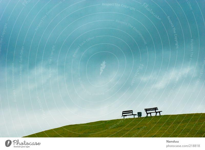 Freiraum Himmel Wiese Landschaft Hintergrundbild frei leer Bank Niedersachsen Sitzgelegenheit Deich Wolkenhimmel Ostfriesland