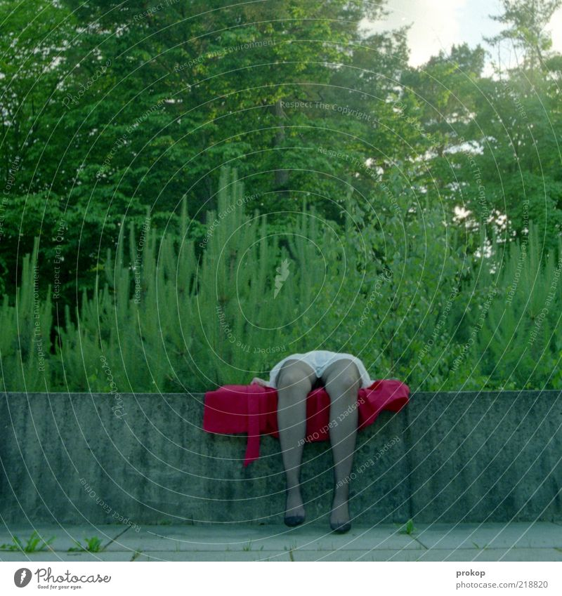 Landschaft und Lust Frau Mensch Erwachsene feminin Beine Park Fuß Beton liegen außergewöhnlich skurril ohne bizarr trendy Strumpfhose Junge Frau