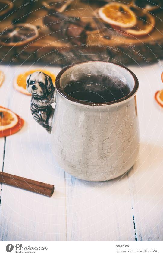 Tasse heißen Tee mit Dampf weiß Frucht retro Frühstück Scheibe gemütlich Zitrone Zimt Heißgetränk