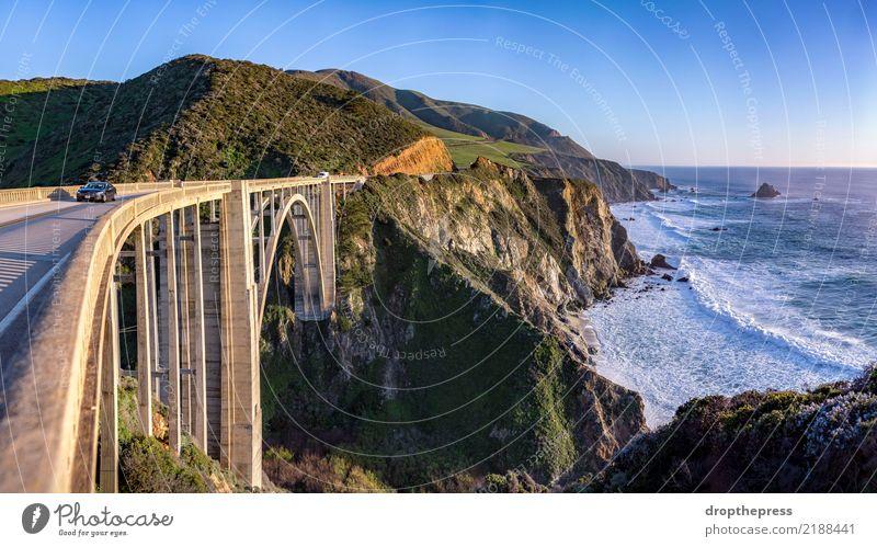 Bixby Brücke Panorama Himmel Natur Ferien & Urlaub & Reisen blau Sommer schön grün Landschaft Meer Wolken Strand Berge u. Gebirge Straße Architektur Küste See