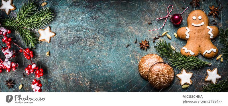 Weihnachten Hintergrund mit Dekoration und Lebkuchenmann Stil Design Winter Weihnachten & Advent Dekoration & Verzierung Zeichen Fahne Tradition Hintergrundbild