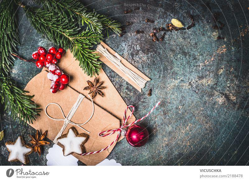 Weihnachtshintergrund mit Geschenkverpackung und Plätzchen Stil Design Dekoration & Verzierung Feste & Feiern Weihnachten & Advent Kerze Zeichen retro Tradition