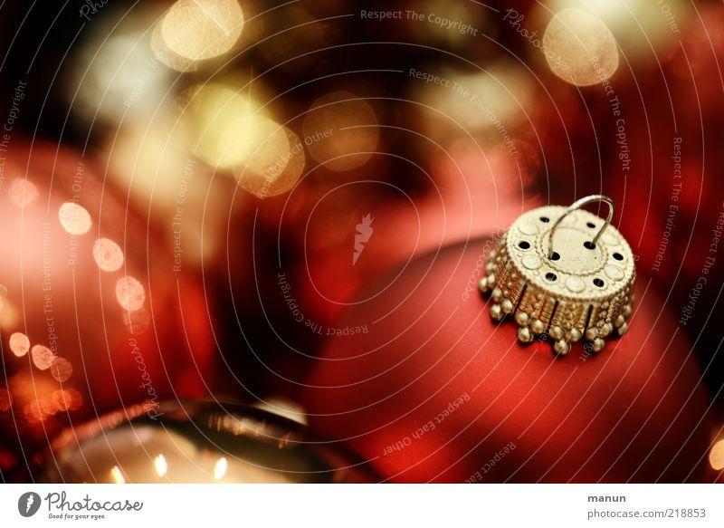 Kugelhaufen Weihnachten & Advent rot Gefühle Lifestyle Feste & Feiern Stimmung glänzend Dekoration & Verzierung gold Fröhlichkeit Zeichen rund Kitsch Wunsch