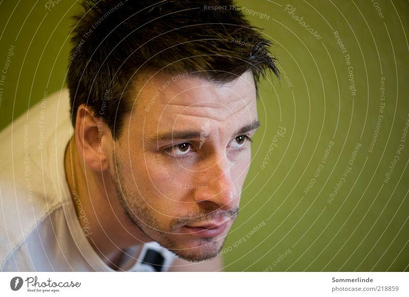 Treuer Blick Stil Haare & Frisuren Gesicht Mensch maskulin Junger Mann Jugendliche Erwachsene Kopf 1 18-30 Jahre T-Shirt brünett kurzhaarig Dreitagebart Denken