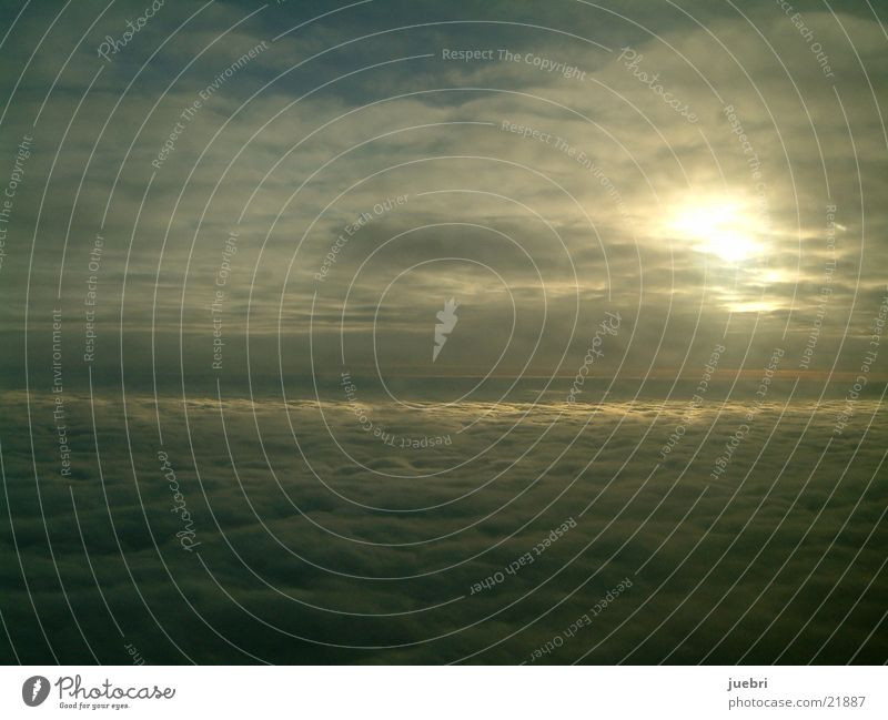 Über den Wolken Himmel Sonne Flugzeug Luftverkehr