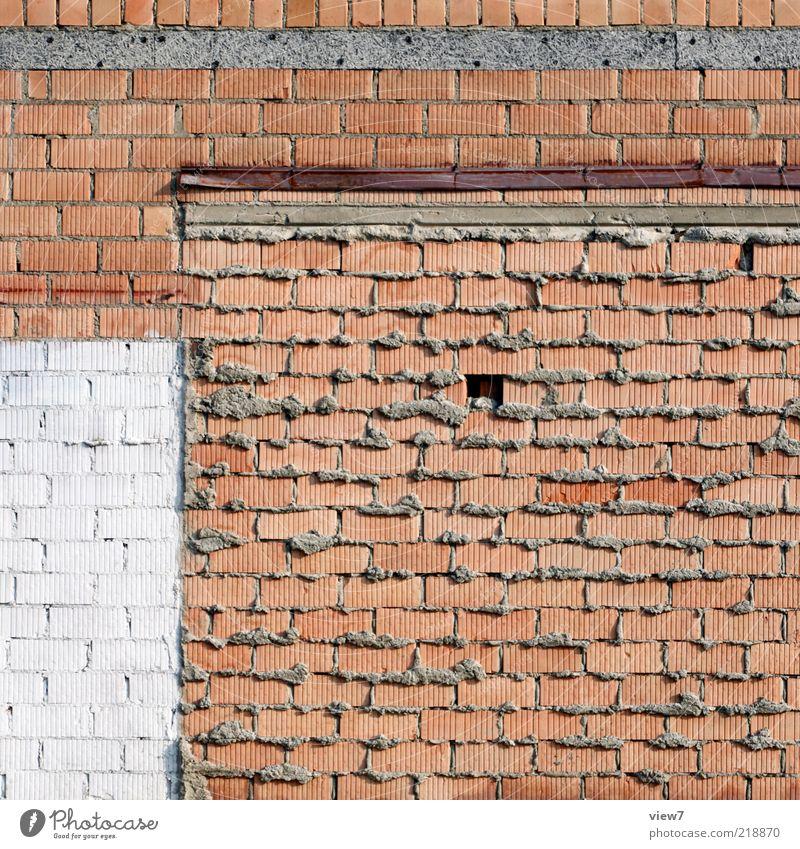 Ziegelsteine alt Haus dunkel Wand Stein Mauer Linie braun dreckig Hintergrundbild Beton Fassade authentisch einfach Baustelle Streifen