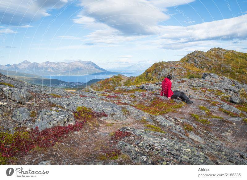 Über den Dingen Mensch Himmel Natur Ferien & Urlaub & Reisen Landschaft Erholung Ferne Herbst Zufriedenheit wild Horizont wandern Idylle genießen Insel