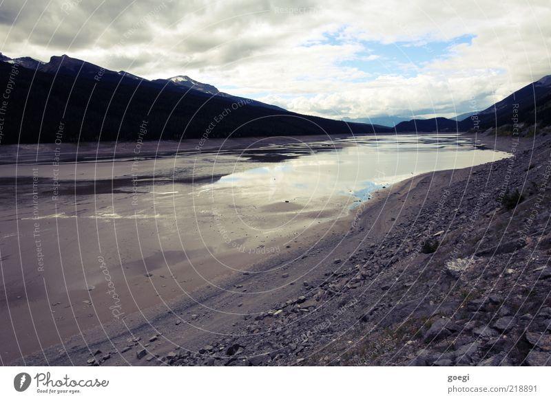 Stöpsel gezogen Himmel Natur blau Wasser weiß Landschaft Wolken Berge u. Gebirge Umwelt Herbst grau See Stein braun Sand Felsen
