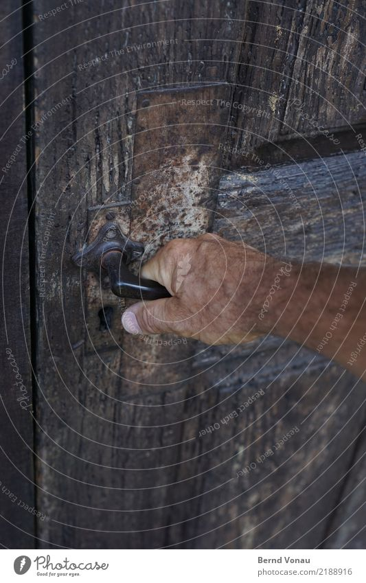 zugriff maskulin Haut Hand 1 Mensch Haus Tür Neugier Holztür alt Griff greifen aufmachen verwittert grau braun Zugang Scheune Farbfoto Gedeckte Farben Tag