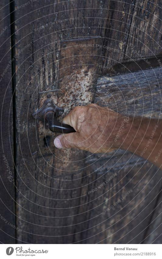 zugriff Mensch alt Hand Haus Holz grau braun maskulin Tür Haut Neugier greifen Scheune Griff verwittert aufmachen