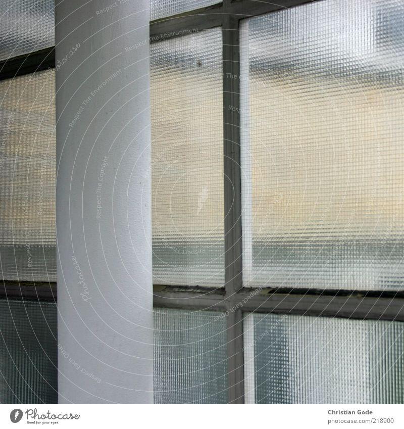 Durchsicht Menschenleer Bauwerk Gebäude Architektur Fenster grau Säule Glasscheibe Sicherheitsglas weiß Fensterscheibe gelb Ocker Gedeckte Farben Innenaufnahme