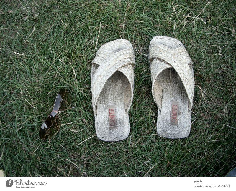 summertime Freizeit & Hobby Wiese Gras Sonnenbrille Brille Sandale Erholung grün Sommer heiß Schuhe Fototechnik warm hitze