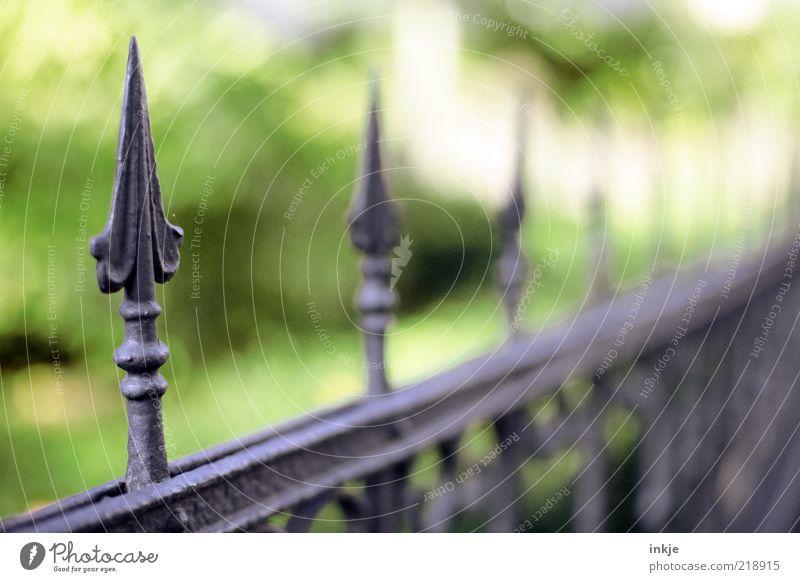 spitz Stil Häusliches Leben Dekoration & Verzierung Garten Park Gartenzaun Eisen Eisentor Metall Ornament Pfeil Spitze alt bedrohlich dunkel eckig historisch