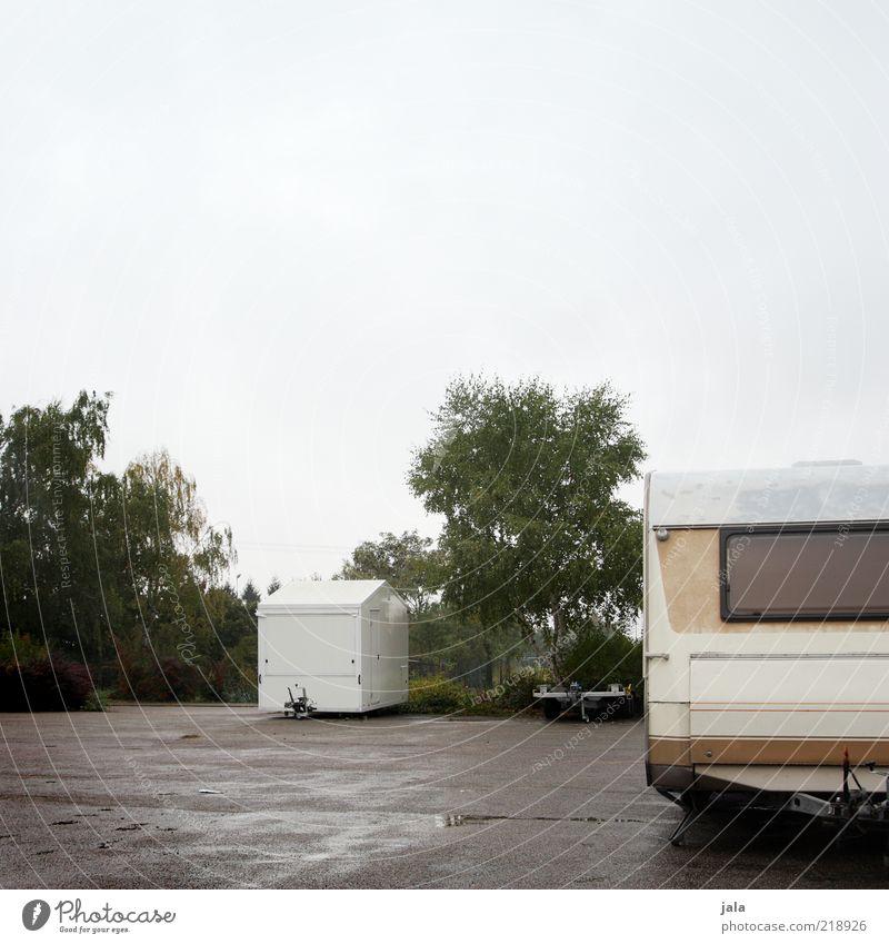 abstellplatz Himmel schlechtes Wetter Pflanze Baum Sträucher Platz Parkplatz Verkehrsmittel Bauwagen Anhänger trist grau grün weiß nass Farbfoto Außenaufnahme
