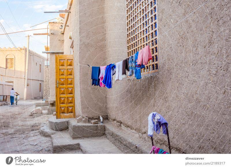 Wäschetrocknung, Chiwa, Usbekistan Stil Design Tourismus Haus Dekoration & Verzierung Kunst Stadt Altstadt Architektur Straße Ornament groß Farbe