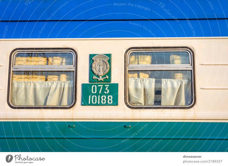 Ferien & Urlaub & Reisen alt blau grün weiß gelb Vogel Design Metall Verkehr retro Dekoration & Verzierung offen Eisenbahn Sauberkeit Stahl