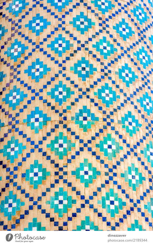 Blaues Mosaikdetail, Usbekistan Ferien & Urlaub & Reisen blau schön weiß Religion & Glaube Stil Gebäude Kunst Fassade Design Aussicht Kultur Punkt Asien