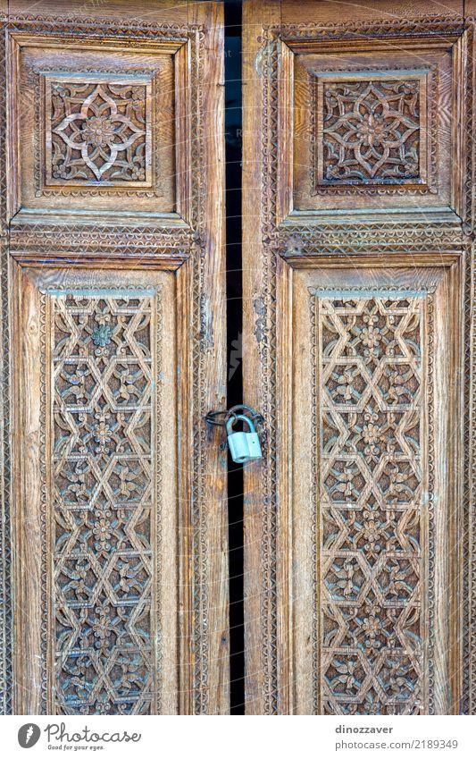 Alte hölzerne geschnitzte Tür Design schön Dekoration & Verzierung Handwerk Kunst Kultur Blume Architektur Denkmal Holz Ornament alt historisch