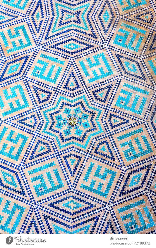Blaues Mosaik Detail. Samarkand Registan Ferien & Urlaub & Reisen Sightseeing Sommer Haus Dekoration & Verzierung Kunst Museum Gebäude Architektur Fassade