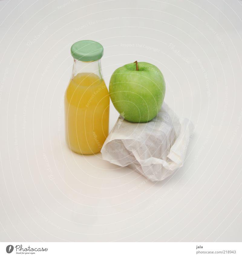pausensnack weiß grün Ernährung gelb Gesundheit Lebensmittel Frucht Getränk Pause einfach Sauberkeit Apfel Saft Frühstück Flasche Brot