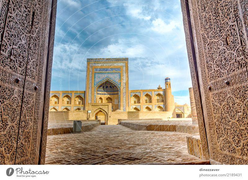 Alte Madrasa durch die Tür, Chiwa Stil Design Sightseeing Haus Dekoration & Verzierung Kunst Stadt Gebäude Architektur Ornament alt blau Religion & Glaube