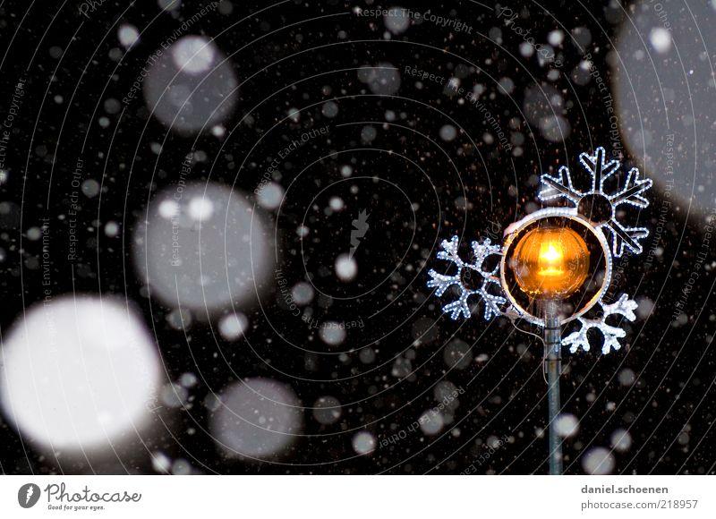 Schneetreiben Winter Klima Eis Frost Schneefall gelb gold schwarz weiß Weihnachten & Advent Nacht Kunstlicht Straßenbeleuchtung Schneekristall